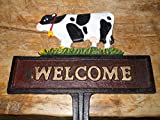 Cast Iron COW WELCOME Sign Garden Stake Home Decor DAIRY Heffer Plaque by OutletBestSelling