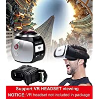 StillCool New Wireless 360 Degree Panoramic Camera 3D VR Action Sports Camera Wifi 16MP 4K HD 30fps Waterproof 230° Large Lens Mini DV Player (White)