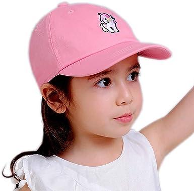 Julylee Kids Girls Unicorn Baseball Cap Pink Cotton Sun Hat