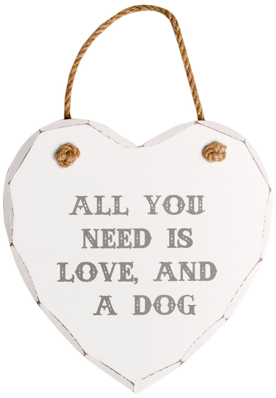 Sass & Belle Cœur Plaque pour porte avec inscription (en anglais) All You Need Is Love and a dog RJB Stone HEART249