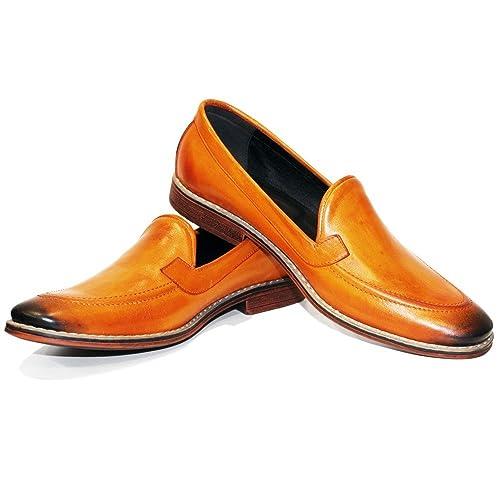 ... Cuero Italiano Hecho A Mano Hombre Piel Naranja Mocasines y Slip-Ons Loafers - Cuero Cuero Pintado a Mano - Ponerse: Amazon.es: Zapatos y complementos