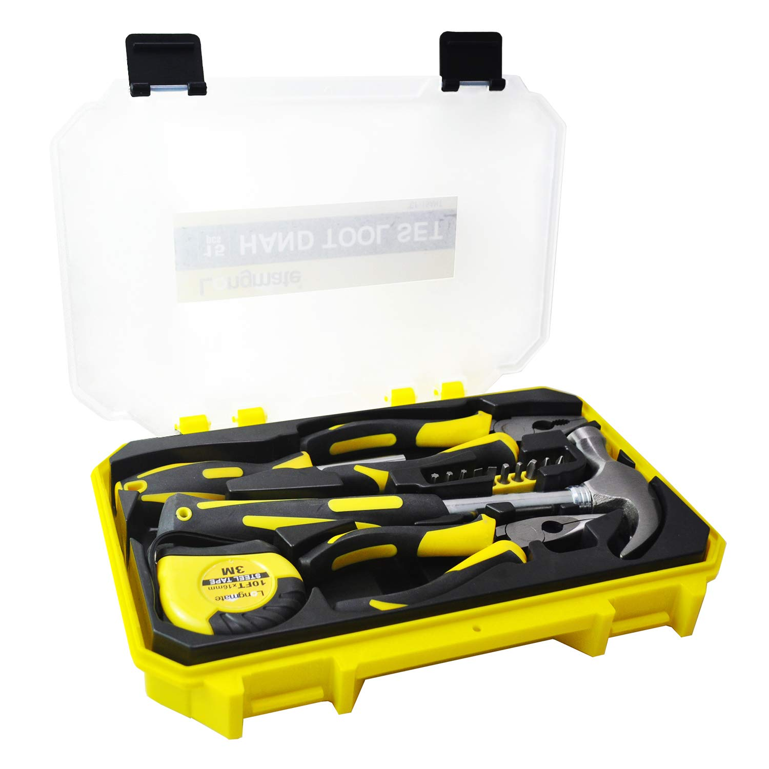 Hand Tool Set, Longmate 15-Piece Household Hand Tool Kit General Mechanic Tool Set with Tool Box Storage Case