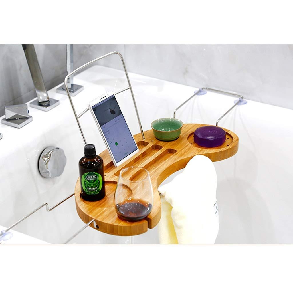 ZhaoLiRuShop Bathtub Trays Bath Caddy Bath Tray Bath Board Bamboo Household Telescopic Bathtub Frame Suction Cup Non-Slip Storage Bath Shelf (Color : Natural, Size : 9016cm) by ZhaoLiRuShop (Image #3)