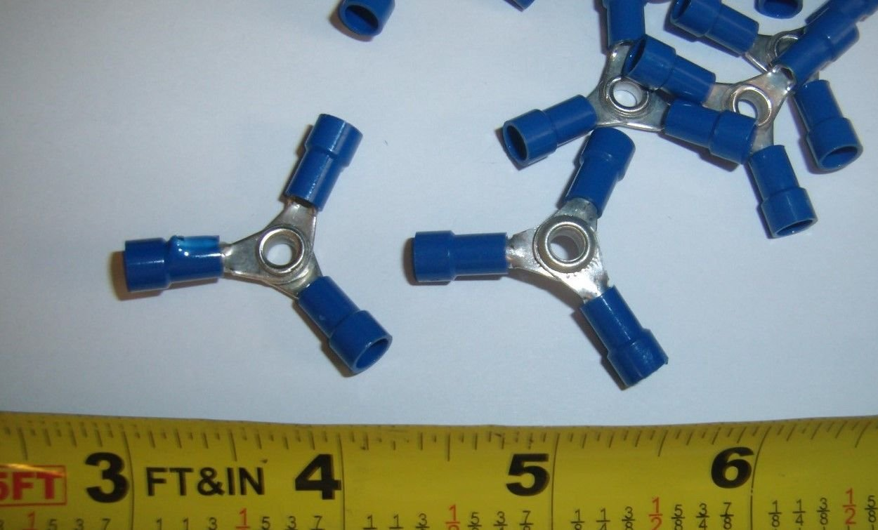 20 USA Fast Shipping 3 Way Wire Butt Connectors Blue Vinyl 16-14 Gauge AWG Ga Crimp On Terminals