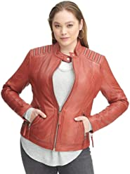 5cc60b8c05892 Wilsons Leather Womens Plus Size Vintage Lamb Jacket W Shoulder Zippers Red