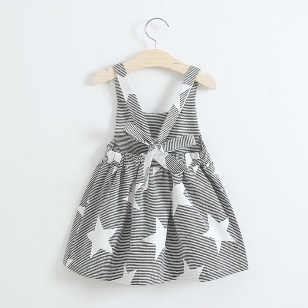 Vestido niña ❤ Amlaiworld Vestido de fiesta a rayas sin mangas de verano para niñas bebé Casual Princesa Vestir Infantil niña 2 Años - 7 Años (gris, ...