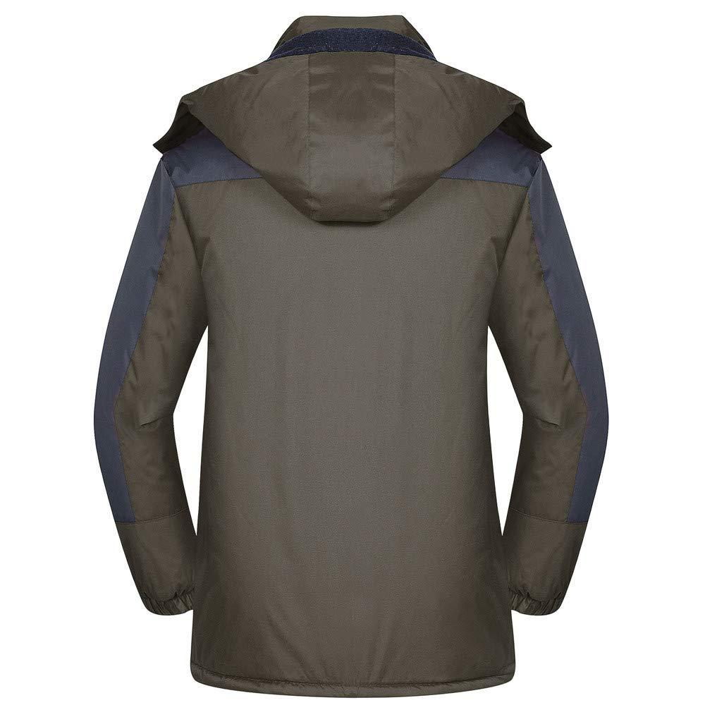 Chaqueta de Otoño Invierno para Hombre, Espesar Felpa Calentar Exterior Engrosada cálida Fleece Abrigo Blusa Outwear Al Aire Libre Capucha Cremallera ...
