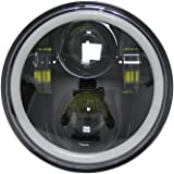"""5-3/4 5.75"""" Daymaker LED Headlight halo Ring white drl Hi/Lo Beam for Harley Sportsters Touring - Super Glide Dyna (Black)"""