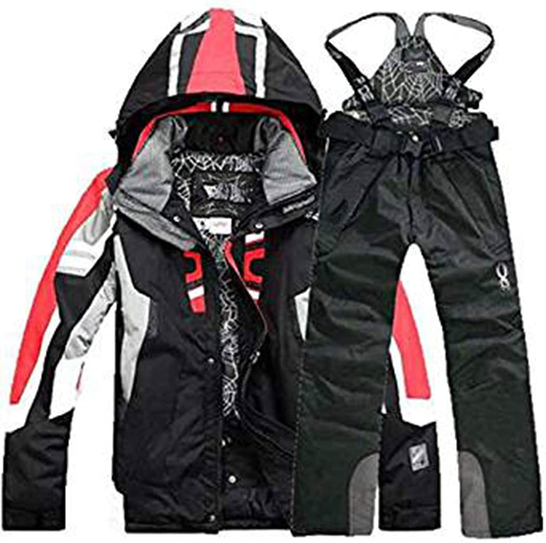 Oplon Combinaison de Ski Homme Ensemble de Veste et Pantalon de Ski d/écontract/é /à Capuchon d/écontract/é pour Hommes Vestes Noir Bleu Rouge Blanc