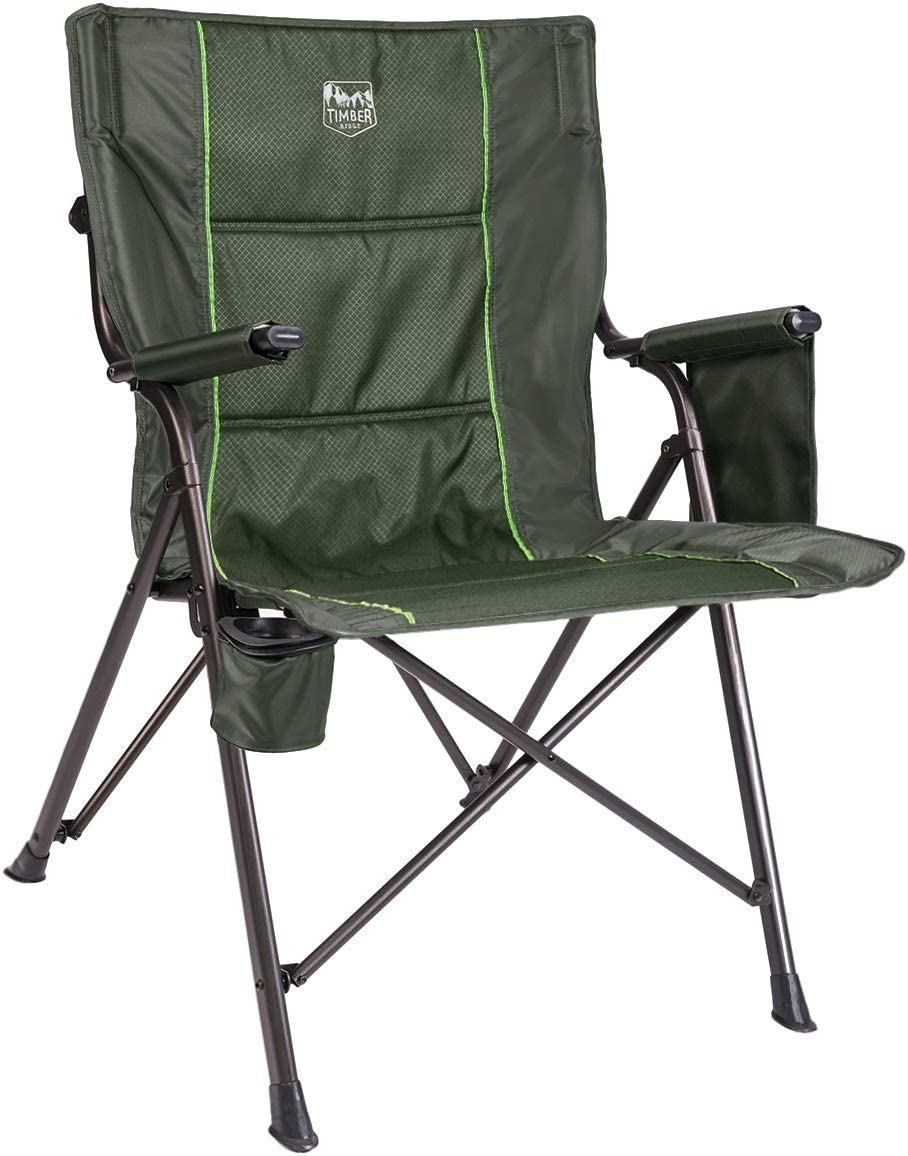 Timber Ridge Camping Folding Quad Chair Support 300lbs with Carry Bag Outdoor Heavy Duty, Foldable Padded Armrest, Cup Holder, Green, X-Large