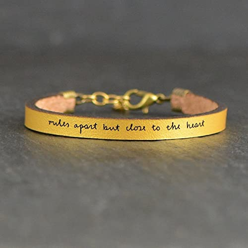 Amazoncom Miles Apart But Close To The Heart Gold Leather Quote