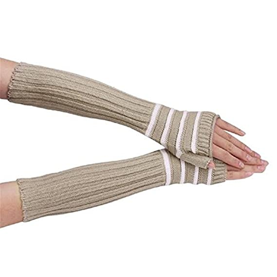 Sintética Ran mujeres cálido invierno de punto sin dedos largo ...