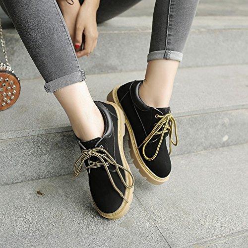 T-juli Kvinna Mode Oxfords Skor - Bekväma Spets-up Låg Klack Rund Tå Skor Svarta