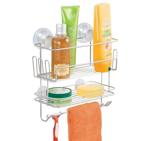 mDesign Estantería colgante doble para ducha – Repisa de baño fijado por succión sin taladrar –