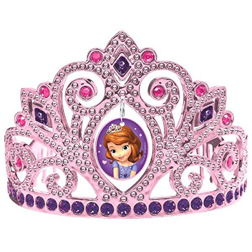 Sofia the First Electroplated Princess Birthday Party Tiara Wearable Favour (1 Piece), Multi Color, 3 1/2″ x 4 1/2″.