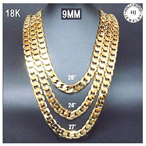 Gold-Chain-Necklace-91MM-18K-Diamond-Cut-Smooth-Cuban-Link-with-No-Fade-USA-PATENTED