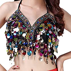 Black With Colorful Beads & Sequin Halter Top