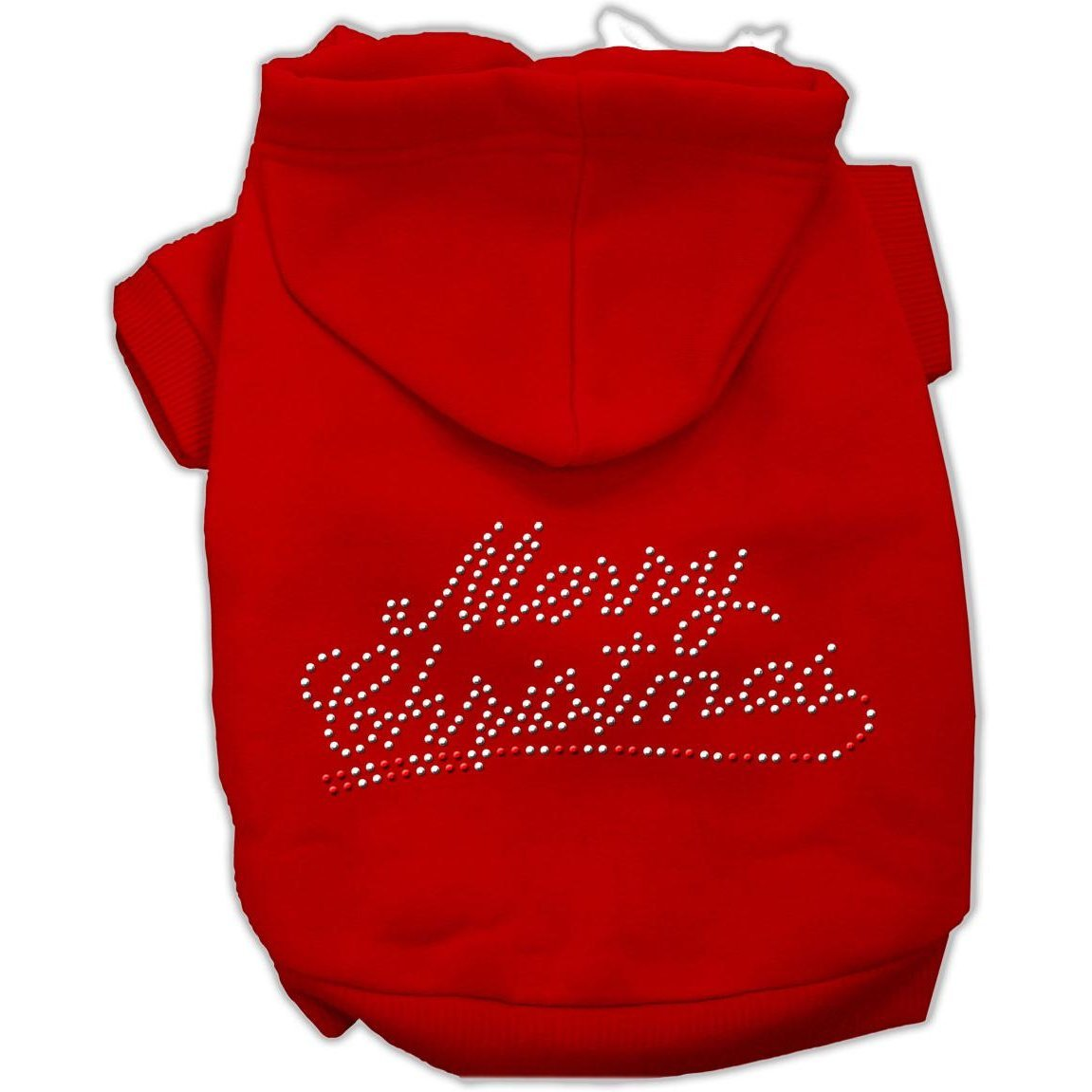 Mirage Pet Products 10-Inch Merry Christmas Rhinestone Hoodies, Small, Red