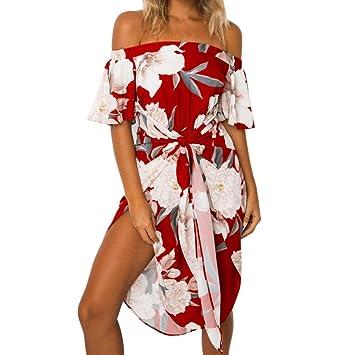 Vestido de verano para mujer, con estampado floral de hombro, estilo casual, venda