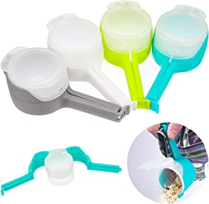 4 Pack Bag Clips for Food, Food Storage Sealing Clips with Pour Spouts, Plastic Cap Sealer Snack Clips, Great for Kitchen Food Storage and Organization