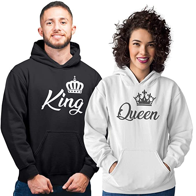 Pack de 2 Sudaderas para Parejas King y Queen Corona (Mujer Tamaño L + Hombre