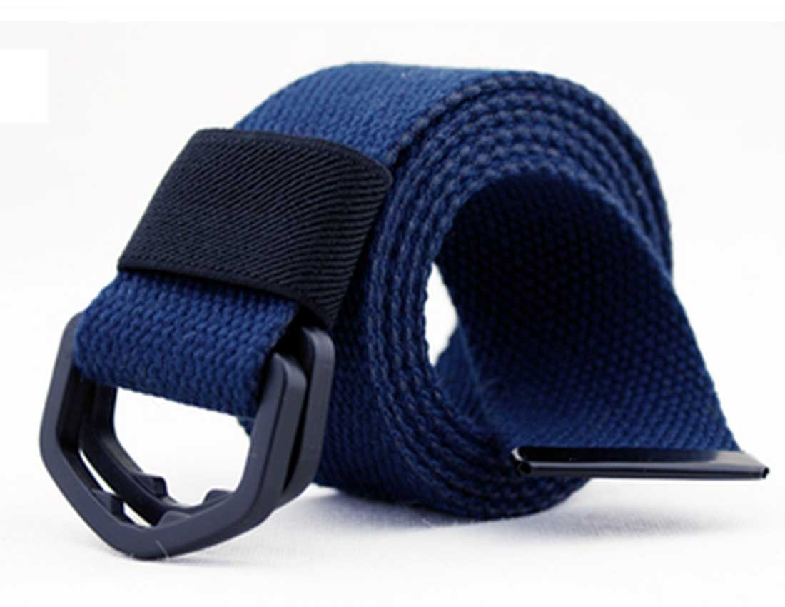 Nidicus Men's Plastic Double-Ring Buckle Solid Cotton Security Friendly Belt Navy