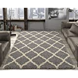 """Ottomanson Ultimate Shaggy Collection Moroccan Trellis Design Shag Rug Contemporary Bedroom and Living room Soft Shag Rugs, Grey, 5'3"""" L x 7'0"""" W"""