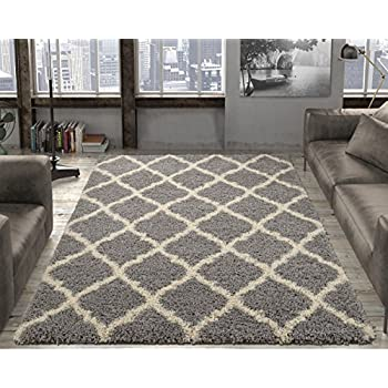 Ottomanson Ultimate Shaggy Collection Moroccan Trellis Design Shag Rug  Contemporary Bedroom And Living Room Soft Shag
