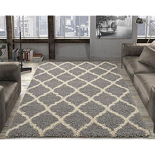 Ottomanson Ultimate Shaggy Collection Moroccan Trellis Design Shag Rug  Contemporary Bedroom And Living Room Soft Shag Rugs, Grey, 7u002710 L X 9u002710 W