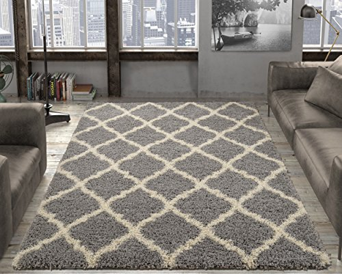"Ottomanson Soft Cozy Trellis Design Shag Rug Contemporary Living & Bedroom Soft Shaggy Area Rug, 79"" L x 111"" W, Grey"