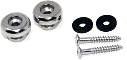 Pair Dunlop Standard Silver Strap Buttons with Screws and Felt Washers