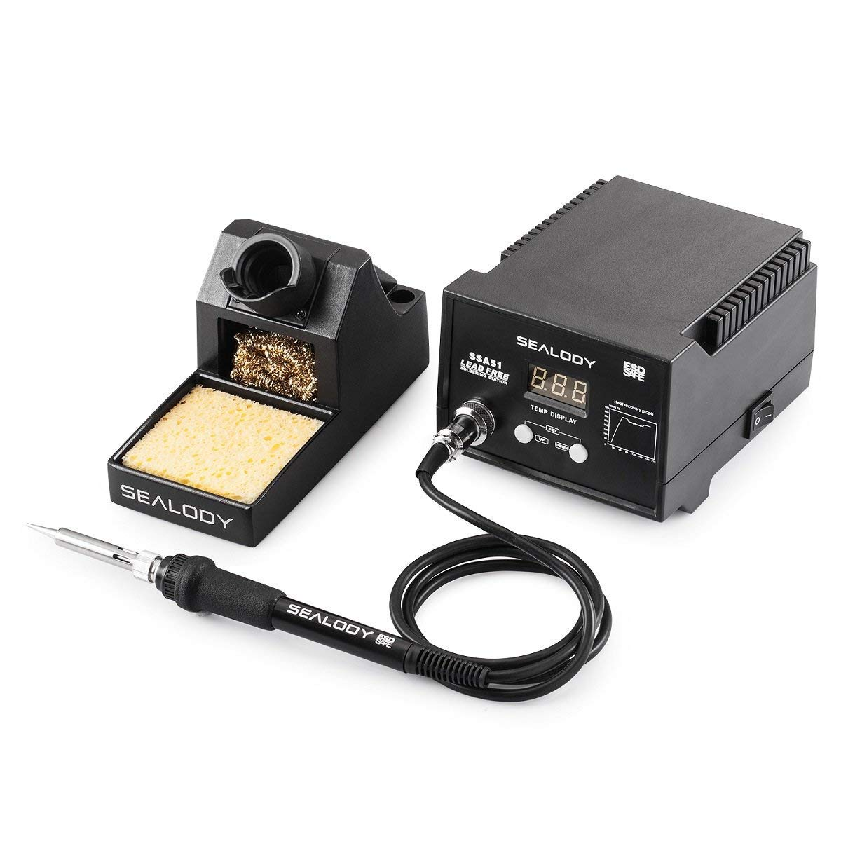 Digital Soldering Station with Pure Aluminum Soldering Stand Tip Cleaning Wire and Sponge SSA51 Black