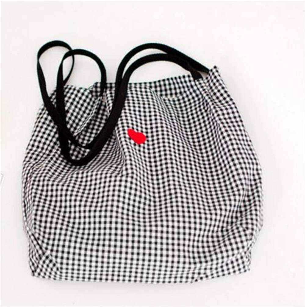 WHXYAA Large Capacity Ladies Canvas Heart Black and White Grid Handbag Shoulder Shopping Bag Simple Atmosphere