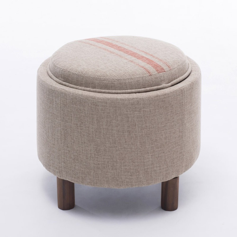 HOMEE Sofa stool- solid wood storage sofa stool tea table stool cloth for shoe stool storage stool multi-functional simple bed stool (color optional) --storage stool,D