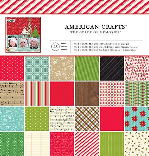 American Crafts 48 Sheet Christmas Paper Pad, 12 x 12