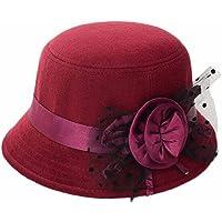 Indexp Gentlewoman Felt Bowler Sombrero, Noble Ladies Elegante Flor Neto ala Ancha Floppy Cloche Sombrero de Fedora