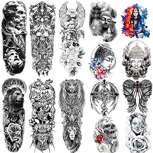 Kotbs 14 Sheets Full Arm Temporary Tattoos for Men Women Buddha Tiger Lion Wolf Wings Flower Totem Extra Large Temporary Tattoos Sleeve Waterproof Tattoo Stickers for Kids Adults