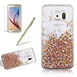 Crystal Clear Hard Case For Samsung Galaxy S6 Edge, Girlyard Water Flowing Bling Case Glitter Sparkle Diamond Gold Leaf Pattern Cover Luxury Stars Hourglass Back Case Cover [Free Screen Protector], Gold
