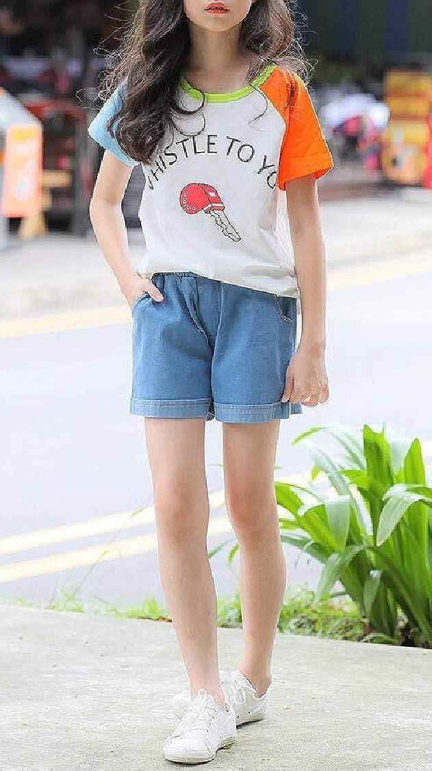 Lutratocro Girl Fashion Pure Color Cute Cuffed Jean Cotton Short