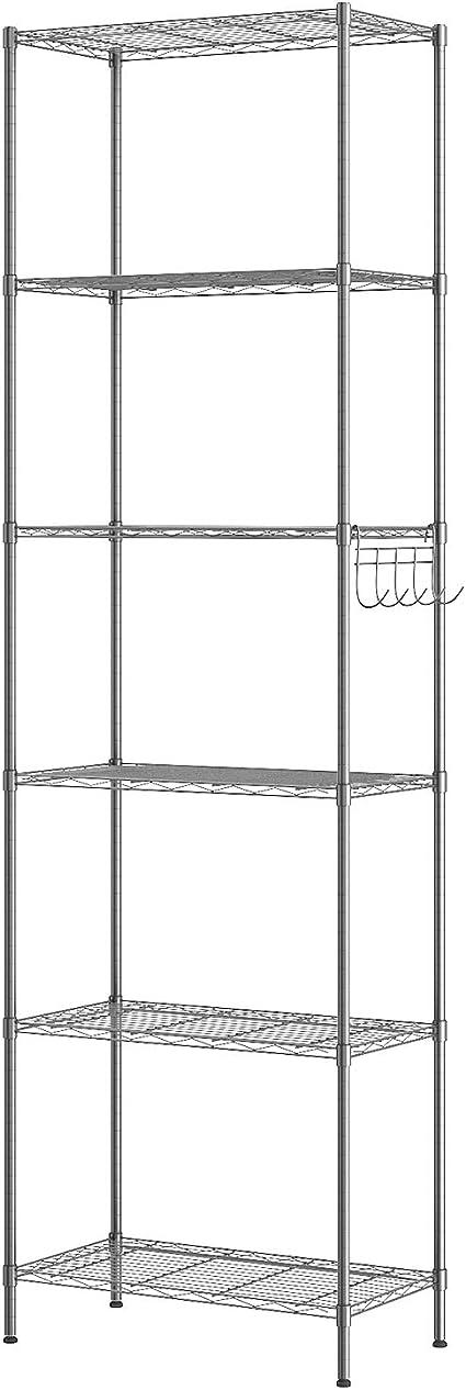 Himimi Estantería Estantería de Cocina Estantería en Metal con Ganchos Laterales de Cromado 54 x 29 x 160 cm,Plata
