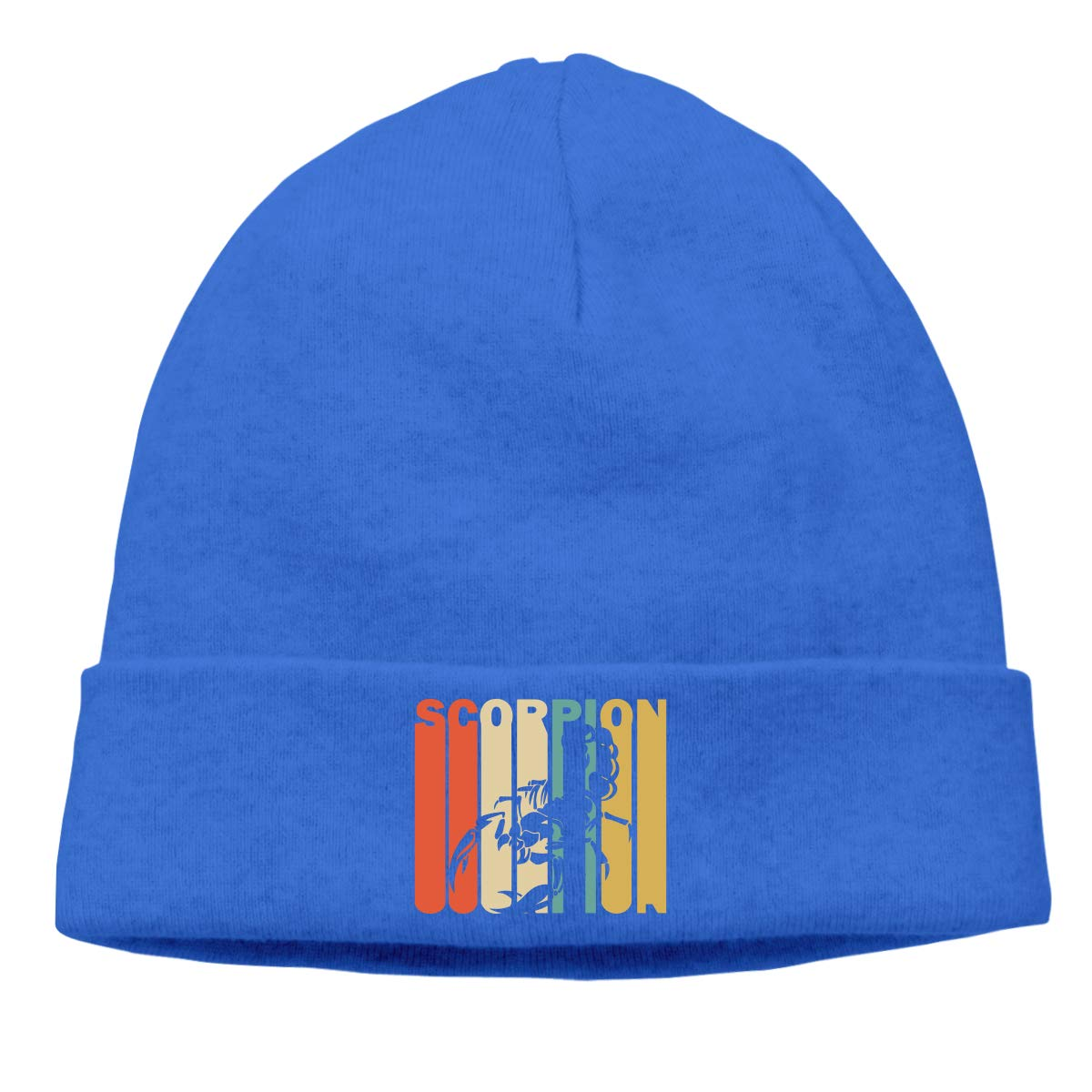 Mens and Womens Knitting Cap Soft Retro Style Scorpion Silhouette Skull Beanies for Mens Womens