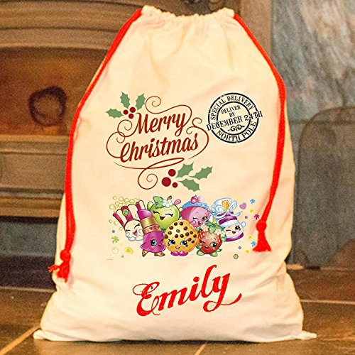 Personalised Shopkins sacco di Babbo Natale buon Natale Babbo Natale calza Happy bag