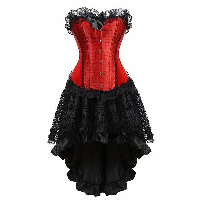 c421f376a18ac AIZEN Burlesque Corset and Skirt Set lace Corset Dress Gothic Gowns ...