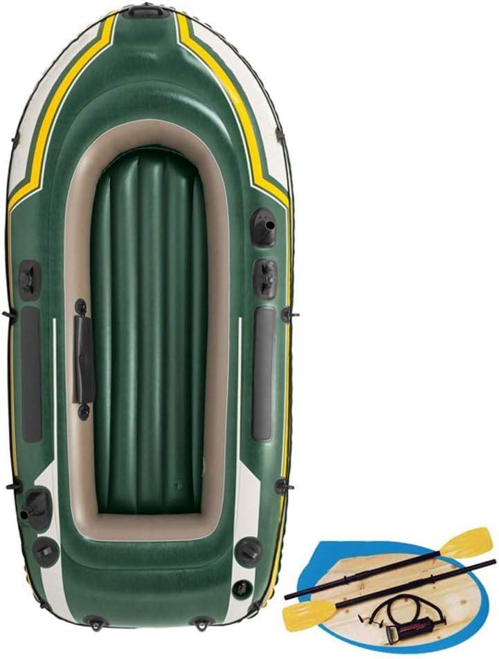 膨脹可能な漁船2人のゴム製手漕ぎボートの肥厚のかいおよび空気ポンプ (Color : 緑) 緑