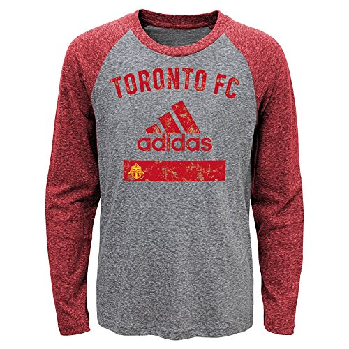 MLS Toronto FC Boys Outerstuff Triblend Equiptment Long Sleeve Tee, Heather Grey, Kids Small (4-6)