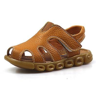 KVbaby Jungen M/ädchen Geschlossene Sandalen aus weichem Leder Sandalen Kinder Outdoor biegsame Sohle Trekkingsandalen Lauflernschuhe Klettverschluss