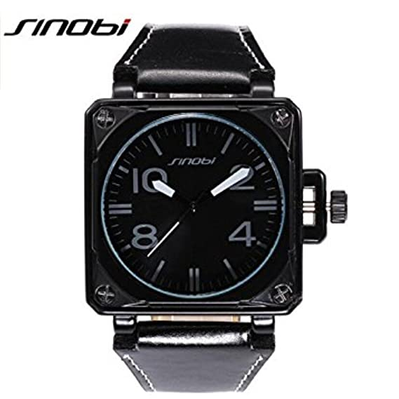 SINOBI Motor Military Sport Man Square Leather Watches, Quartz Campaign Wrist Watches Black reloj hombre