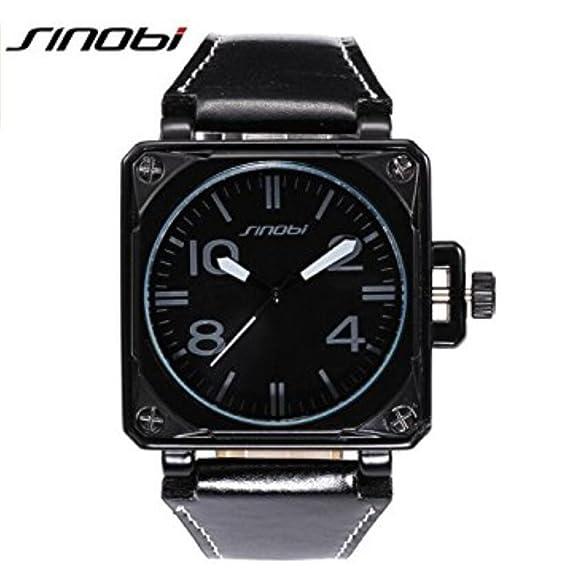 SINOBI Motor Military Sport Man Square Leather Watches, Quartz Campaign Wrist Watches Black reloj hombre