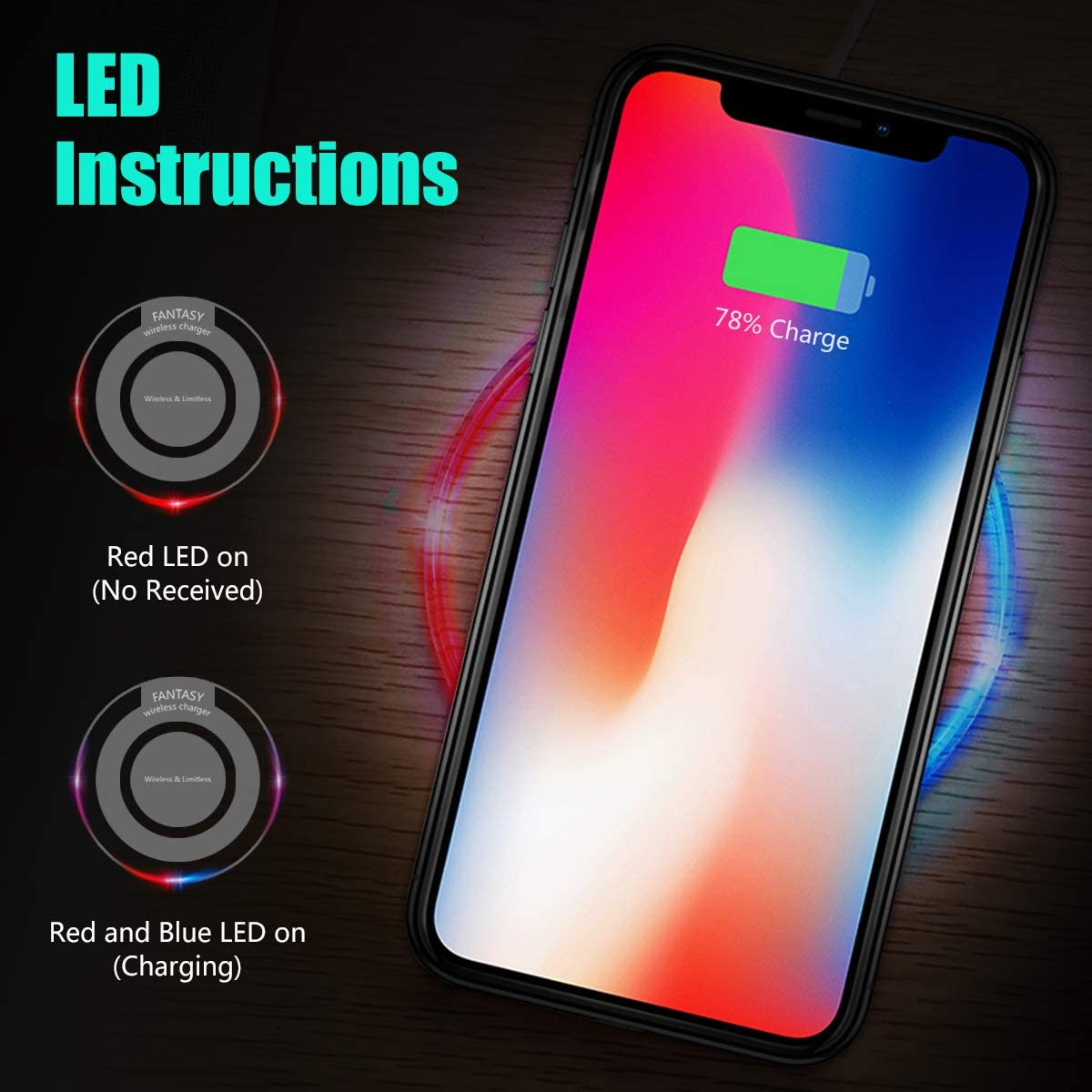 Mini Portable Cordless Wireless Charging Pad Stand Compatible for XS//XR//Max//X//8//8 Plus Samsung Galaxy S10+//S9//Note9 All Qi-Enabled Devices White CC-Show Qi Wireless Charger Latest Upgraded -