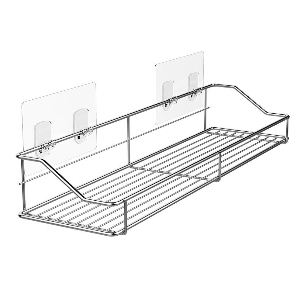 Bathroom Shelf Organizer Storage Kitchen Rack with Traceless Transparent Adhesive No Drilling SUS304 Stainless Steel